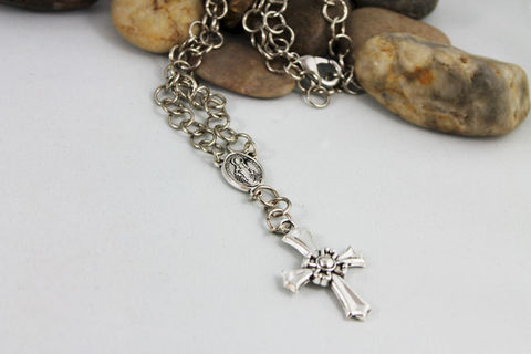 Silver,Rosary,Cross,Necklace,Jewelry,silver_rosary,cross_necklace,madonna_necklace,mother_mary,mary_necklace,mother_mary_jewelry,religious_jewelry,spiritual_jewelry,silver_cross,cross_jewelry,religious_necklace,jewelshart,rosary_necklace,mixed metals