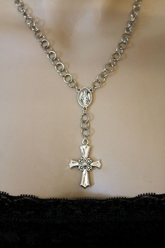 Silver Rosary Cross Necklace - product images  of