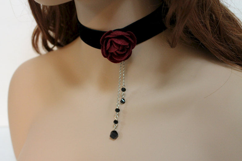 Black Velvet Red Rose Choker - product images  of