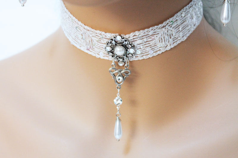 White Lace Victorian Choker Necklace - product images  of