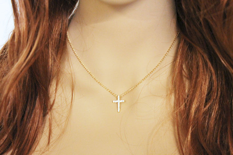Dainty Gold Cross Necklace - product images  of