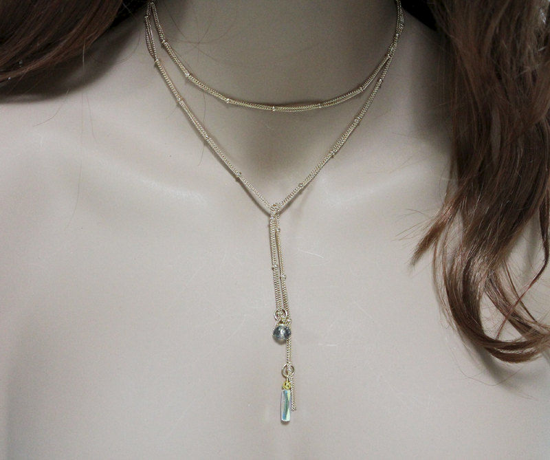Dainty Gold Lariat Necklace - product images  of