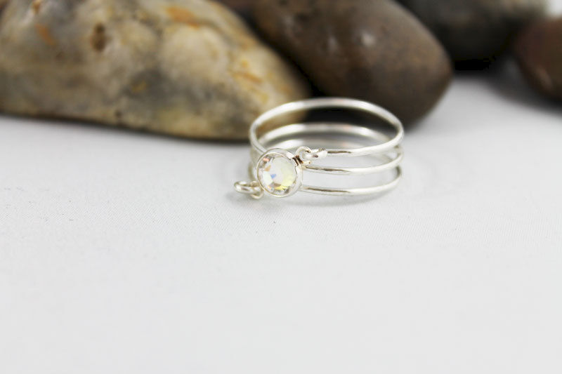 Silver Wire Wrapped Swarovski Crystal Ring  - product images  of