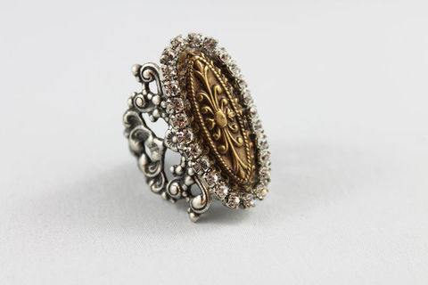 Oxidized,Silver,Cocktail,Ring,Jewelry,Adjustable,cocktail_ring,gold_ring,silver_ring,statement_ring,silver_cocktail_ring,big_bold_ring,ring_statement,adjustable_ring,silver_statement,rhinestone_ring,big_ring,finger_ring,brass_ring,oxidized silver over brass,oxidized brass,rhinest