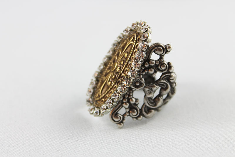 Oxidized Silver Cocktail Ring - product images  of