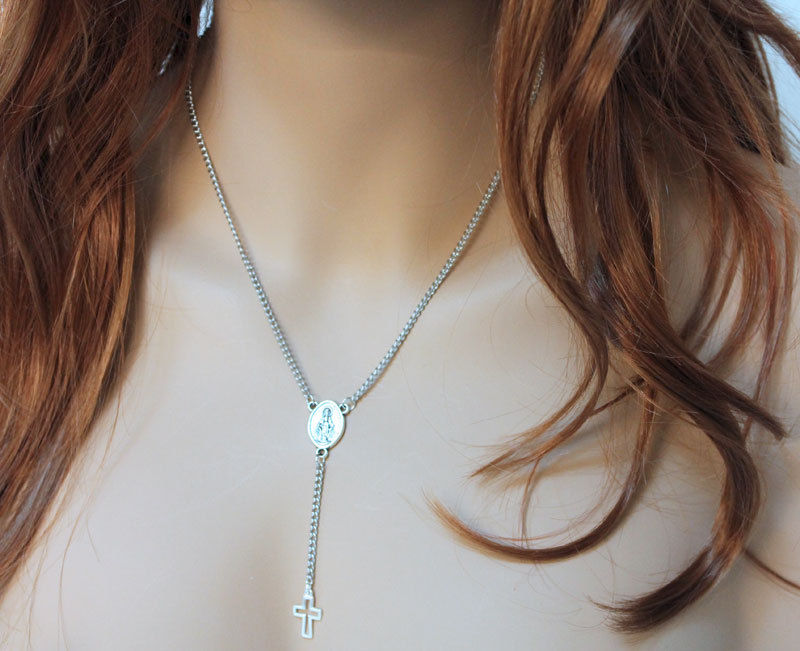 Silver Cross Rosary Necklace - product images  of