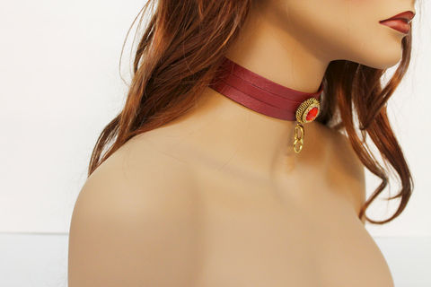 Sexy,Red,Leather,Choker,Necklace,Jewelry,choker_necklace,leather_choker,leather_collar,leather_necklace,leather_jewelry,genuine_leather,sexy_collar,womens_choker,anime_cosplay,fantasy_choker,red_choker,sexy_choker,sexy_red_choker,leather,vintage setting,acrylic stone,mixe