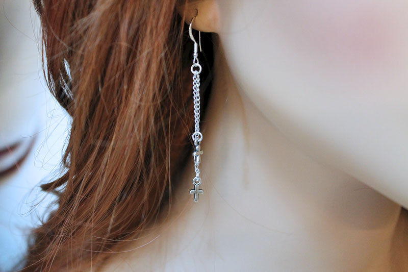Long Tiny Cross Dangle Earrings - product images  of