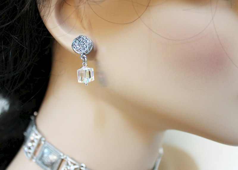 Elegant Oxidized Silver Crystal Dangle Earrings - product images  of