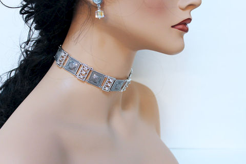Elegant,Art,Deco,Evening,Choker,Weddings,Jewelry,Necklace,silver_choker,bridal_choker,choker_necklace,bridal_necklace,oxidized_silver,elegant_necklace,bridal_jewelry,special_occasion,evening_jewelry,wedding_jewelry,wedding_choker,elegant_choker,art_deco_jewelry,oxidized silver over bras