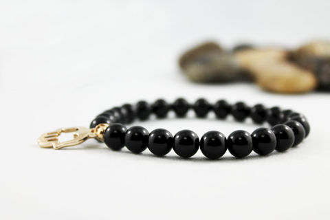 Unisex,Beaded,Hamsa,Bracelet,Jewelry,onyx_bracelet,mens_bracelet,mens_jewelry,gold_hand_charm,charm_bracelet,unisex_bracelet,bead_bracelet,stretch_bracelet,hand_charm_jewelry,unisex_jewelry,onyx_jewelry,hamsa_jewelry,hamsa_bracelet,onyx,mixed metals,elastic cord