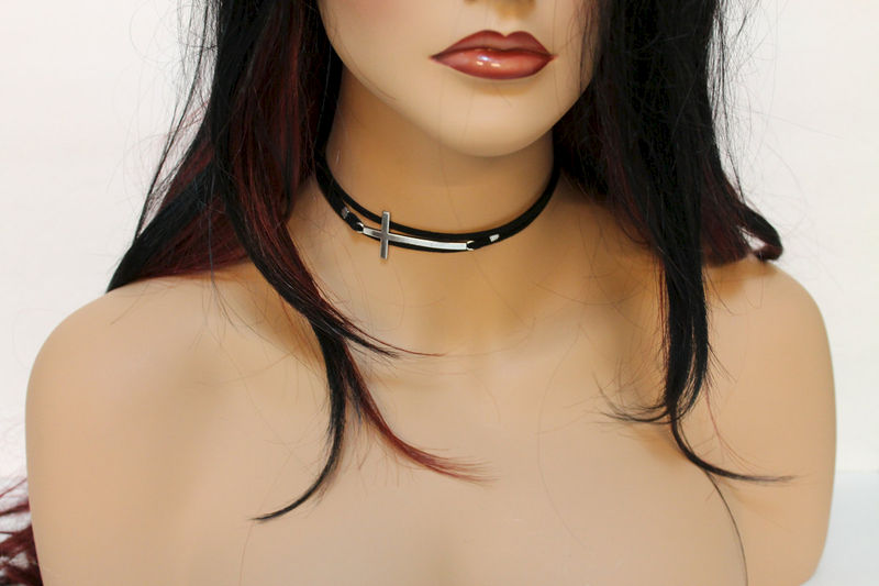 Simple Suede Sideway Cross Choker  - product images  of