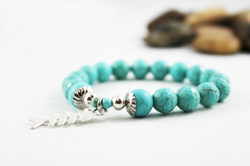 Unisex Turquoise Bead Stretch Bracelet - product images  of