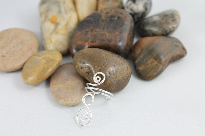 Adjustable Silver Spiral Swirl Ring, TRS100 - product images  of