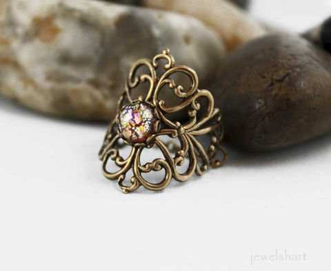 Victorian,Oxidized,Brass,Filigree,Ring,Jewelry,filigree_ring,brass_filigree,everyday,gift_idea,brass_ring,knuckle_ring,brass_knuckle,finger_ring,victorian_jewelry,oxidized_brass,victorian_ring,filigree_jewelry,romantic_jewelry,oxidized brass,glass cabochon