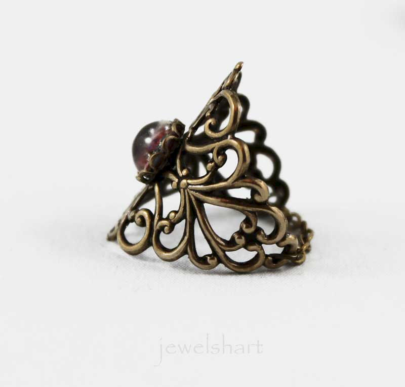 Victorian Oxidized Brass Filigree Ring - product images  of