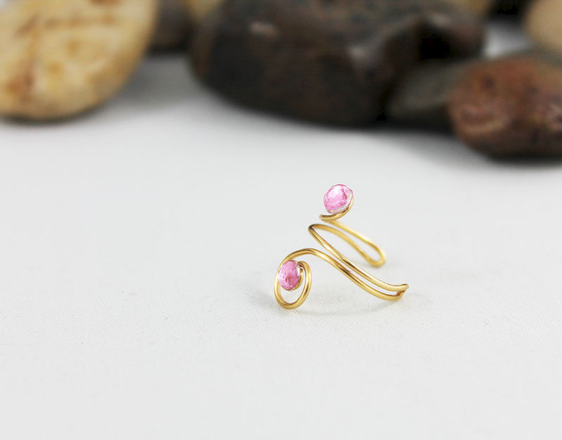 Wire Wrapped Spiral Pink Crystal Ring TRG105 - product images  of