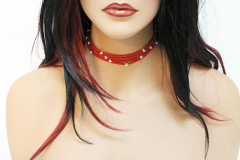 Simple,Red,Suede,Choker,Necklace,Jewelry,suede_choker,choker_necklace,gold_bead,beaded_suede,womens_choker,handmade_choker,handmade_necklace,black_suede_choker,silver_choker,red_choker,simple_red_choker,4_strand_choker,casual_choker,suede cord,mixed metals