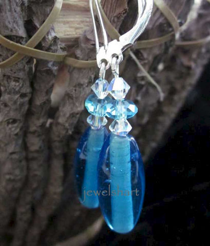 Casual,Blue,Dangle,Earrings,Jewelry,Glass,bead_earrings,sterling_silver,blue_bead_earrings,crystal_earrings,swarovski_crystals,dangle_earrings,blue_dangle_earrings,blue_bead_earring,drop_earrings,casual_earrings,everyday_earrings,blue_earrings,simple_earrings,glass beads,sw