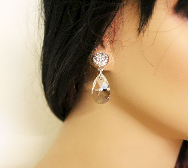 Crystal Teardrop Silver Earrings - product images  of