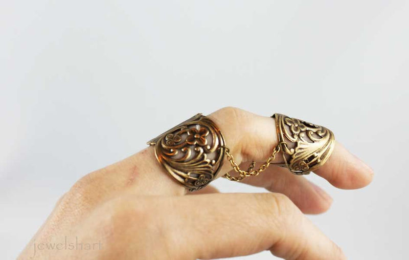 Double Ring Brass Finger Armor - product images  of