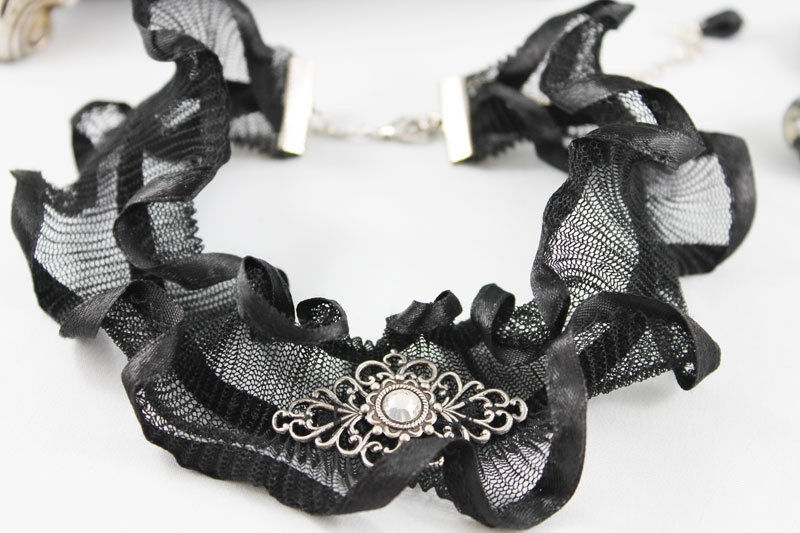 Black Ruffled Victorian Choker Collar - product images  of