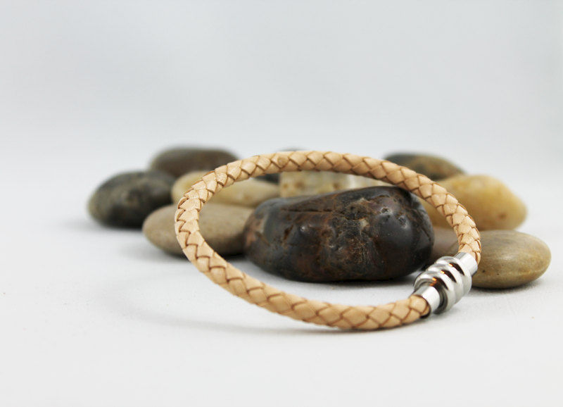 Natural Tan Braided Leather Bracelet - product images  of