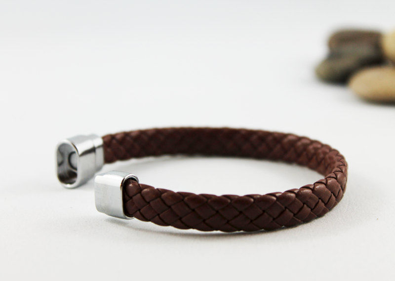 Men's Brown Braided Leather Bracelet - product images  of