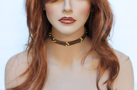 Simple,Brown,Suede,Choker,Necklace,Jewelry,simple_choker,choker_necklace,gold_choker,everyday_necklace,everyday_choker,casual_choker,suede_choker,womens_choker,casual_jewelry,simple_necklace,brown_choker,brown_necklace,everyday_jewelry,suede cord,mixed metals