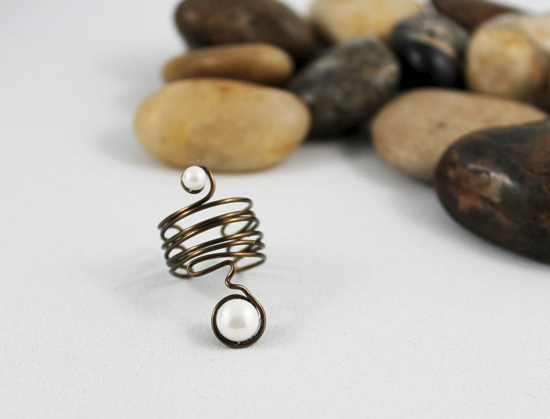 Wire Wrapped Adjustable Pearl Ring - product images  of