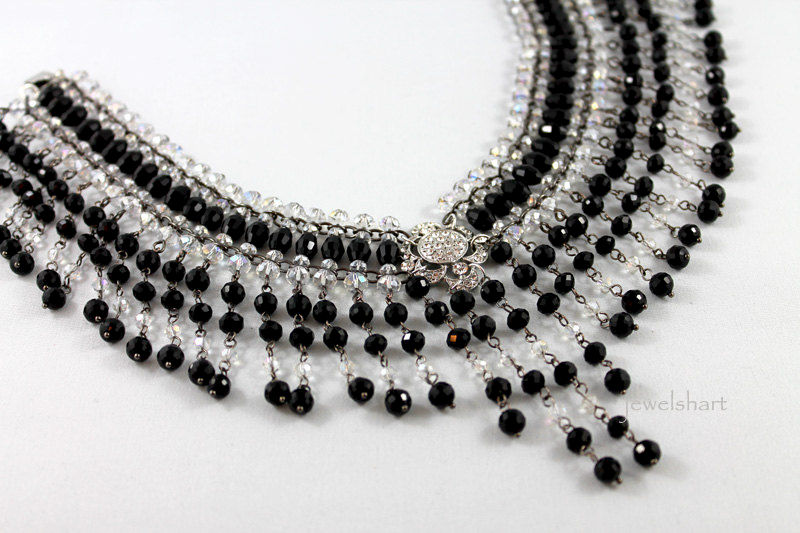 Elegant Black Beaded Victorian Choker Necklace - product images  of