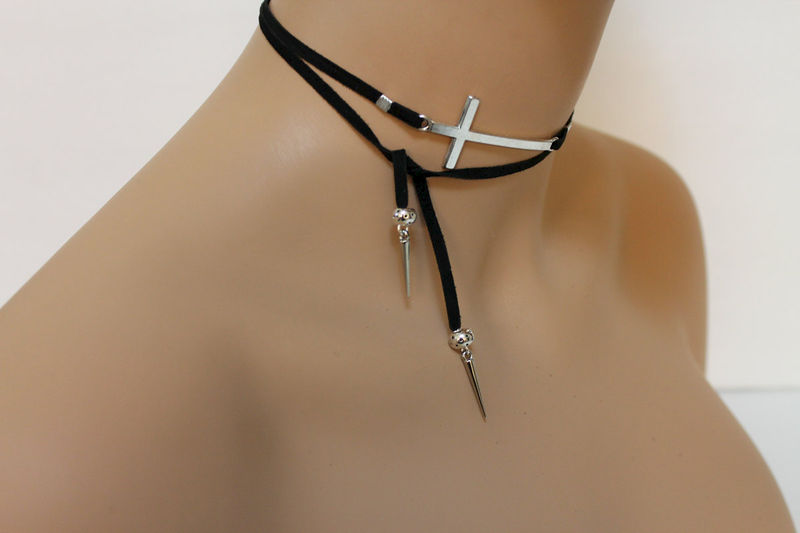 Silver Sideways Cross Suede Lariat Necklace - product images  of
