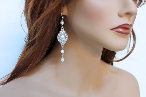 Long,White,Pearl,Drop,Bridal,Earrings,Jewelry,pearl_earrings,bridal_earrings,long_pearl_earrings,elegant_pearl,long_earrings,bridal_jewelry,pearl_bridal_earring,special_occasion,white_pearl_earrings,pearl_drop_earrings,dangle_earrings,jewelshart,bridesmaid_jewelry,mother of pea