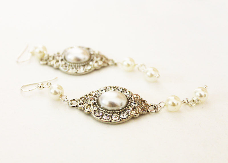 Long White Pearl Drop Bridal Earrings - product images  of