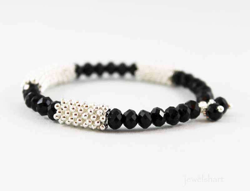 Sparkly Black Bead Bangle Bracelet - product images  of