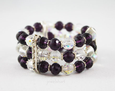 Purple,Beaded,Stretch,Cuff,Bracelet,Jewelry,purple_bracelet,crystal_cuff,cuff_bracelet,purple_cuff,multi_strand,stretch_bracelet,stretch_cuff,crystal_bracelet,rhinestone_bracelet,beaded_stretch,beaded_bracelet,triple_strand,beaded_cuff,crystal beads,rhinestone connectors,elast