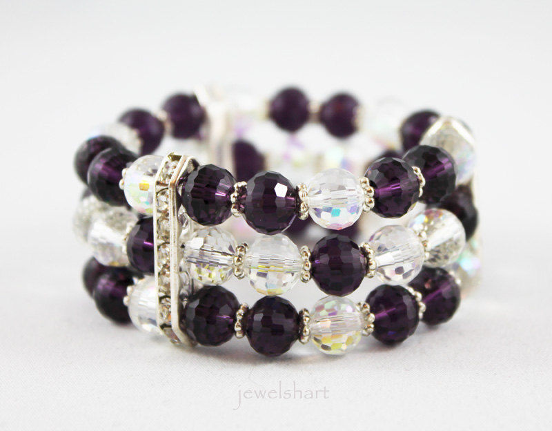 Purple Beaded Stretch Cuff Bracelet - product images  of