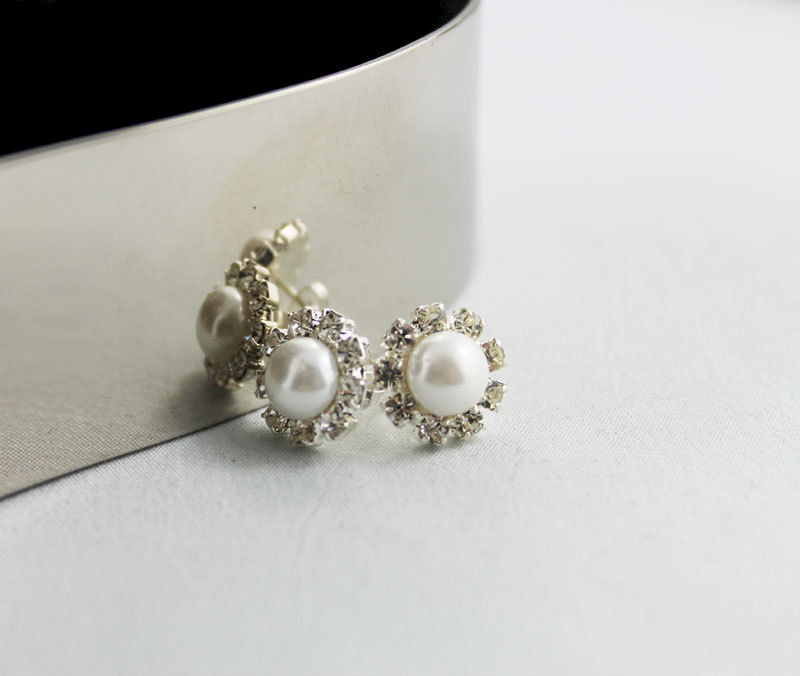 Bridal Pearl Rhinestone Post Earrings - product images  of