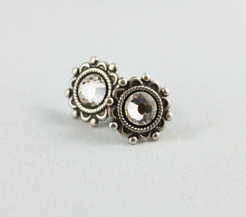 Crystal Silver Stud Earrings - product images  of