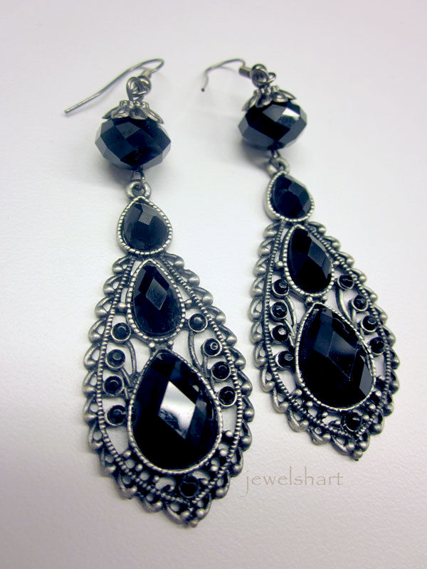 Long Black Crystal Teardrop Victorian Earrings - product images  of