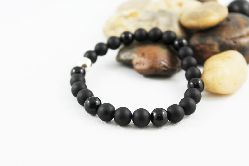 Unisex Black Onyx Stretch Stacking Bracelet  - product images  of