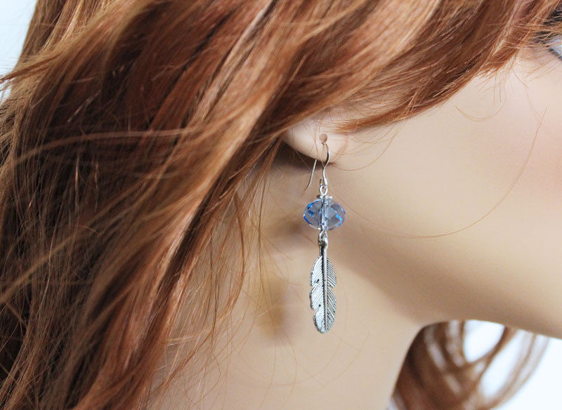 Crystal Drop Leaf Charm Earrings - product images  of