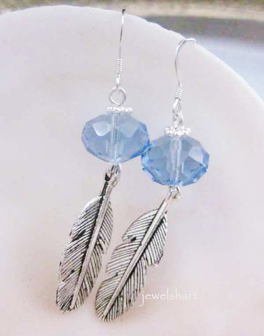 Crystal,Drop,Leaf,Charm,Earrings,Jewelry,Dangle,sterling_silver,blue_earrings,dangle_earrings,dangle_leaf_earrings,long_dangle_earrings,leaf_earrings,everyday_earrings,crystal_drop_earring,long_blue_earrings,leaf_charm_earrings,casual_earrings,everyday_jewelry,blue_dangle_earrin