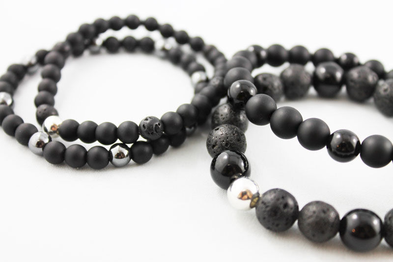 Mens Black Onyx Lava Bead Bracelet - product images  of