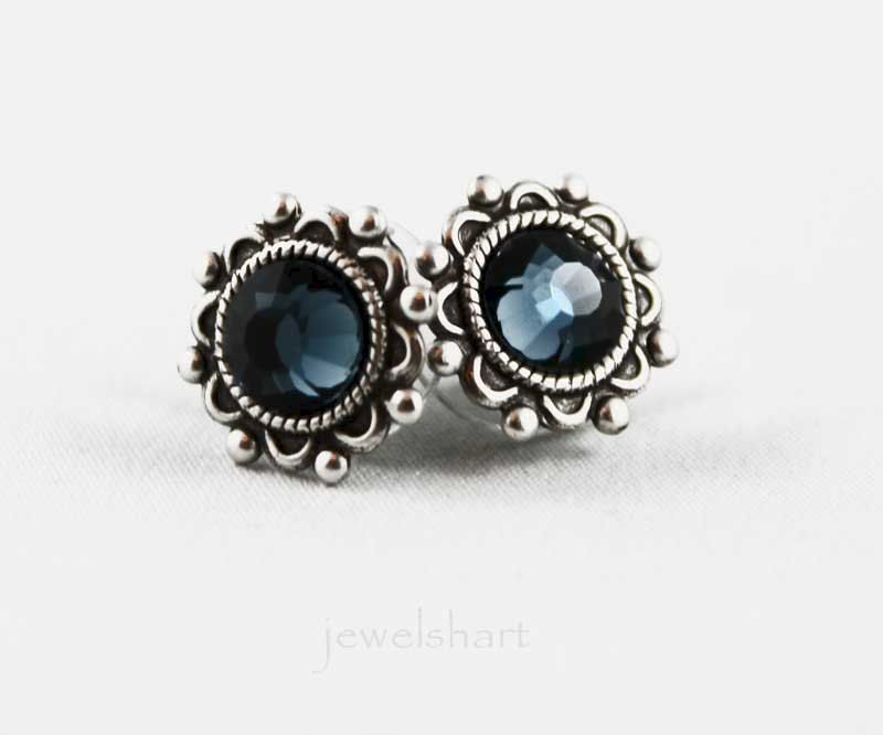 Blue Crystal Oxidized Silver Stud Earrings - product images  of