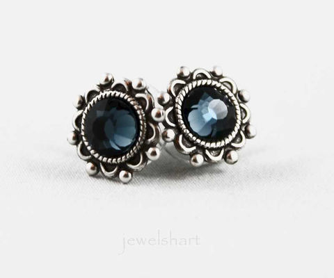 Blue,Crystal,Oxidized,Silver,Stud,Earrings,Jewelry,Post,stud_earrings,oxidized_silver,post_earrings,blue_crystal_earring,silver_studs,blue_studs,blue_earrings,silver_stud,stud_earings,silver_earings,gift_idea,small_earrings,silver_earrings,oxidized silver brass,crystal
