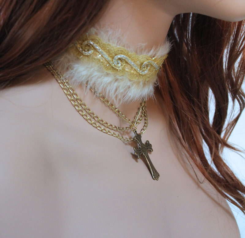 Gold Cross Sequin Collar Necklace - product images  of