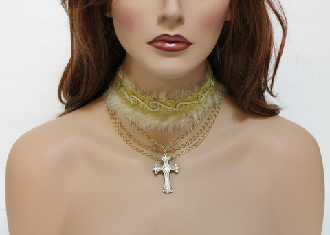 Gold,Cross,Sequin,Collar,Necklace,choker, choker necklace, sequin, sequin collar, sequin necklace, cross choker, cross necklace, gold choker, gold necklace, gold collar, collar necklace, statement necklace,