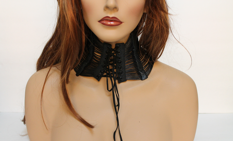 Leather,Neck,Corset,Collar,neck corset, collar, choker, leather, suede, leather choker, leather collar, black choker, black collar, black corset, black neck corset, lacing, statement choker,