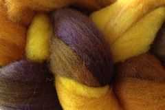 Valley,Sunflower,Hand,Dyed,Wool,Roving,Wool Roving Hand Dyed Yellow Orange Brown Purple